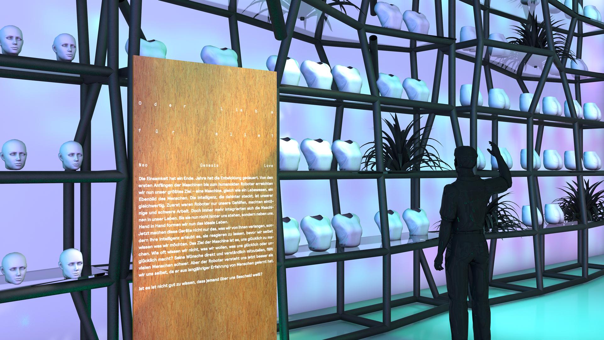 Neo Genesis Love Bachelor Liebe und Sex mit Robotern Ismaël Sanou Konzept design Ausstellungsgestaltung Concept Store Museum Interaktivität