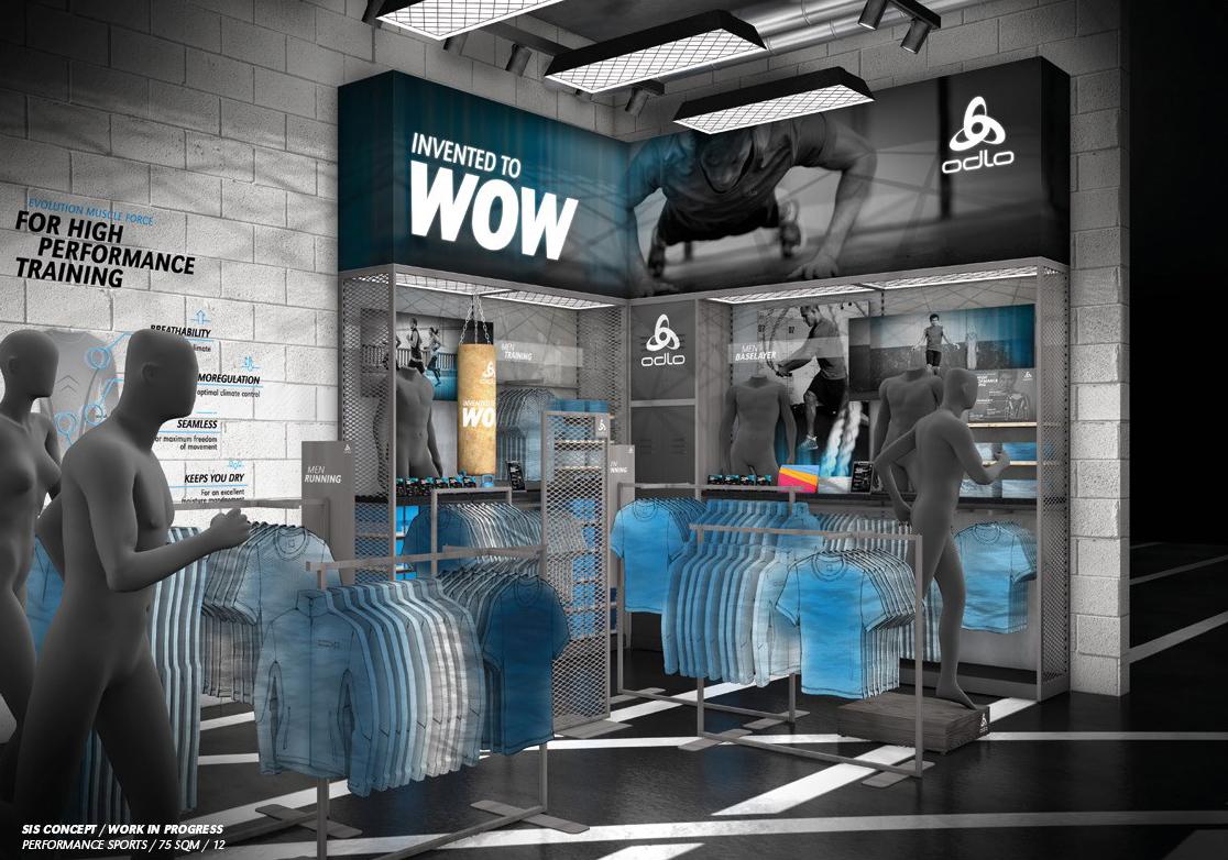 Odlo Concept Shop in Shop Gestaltung Shop Grafik Retail Design