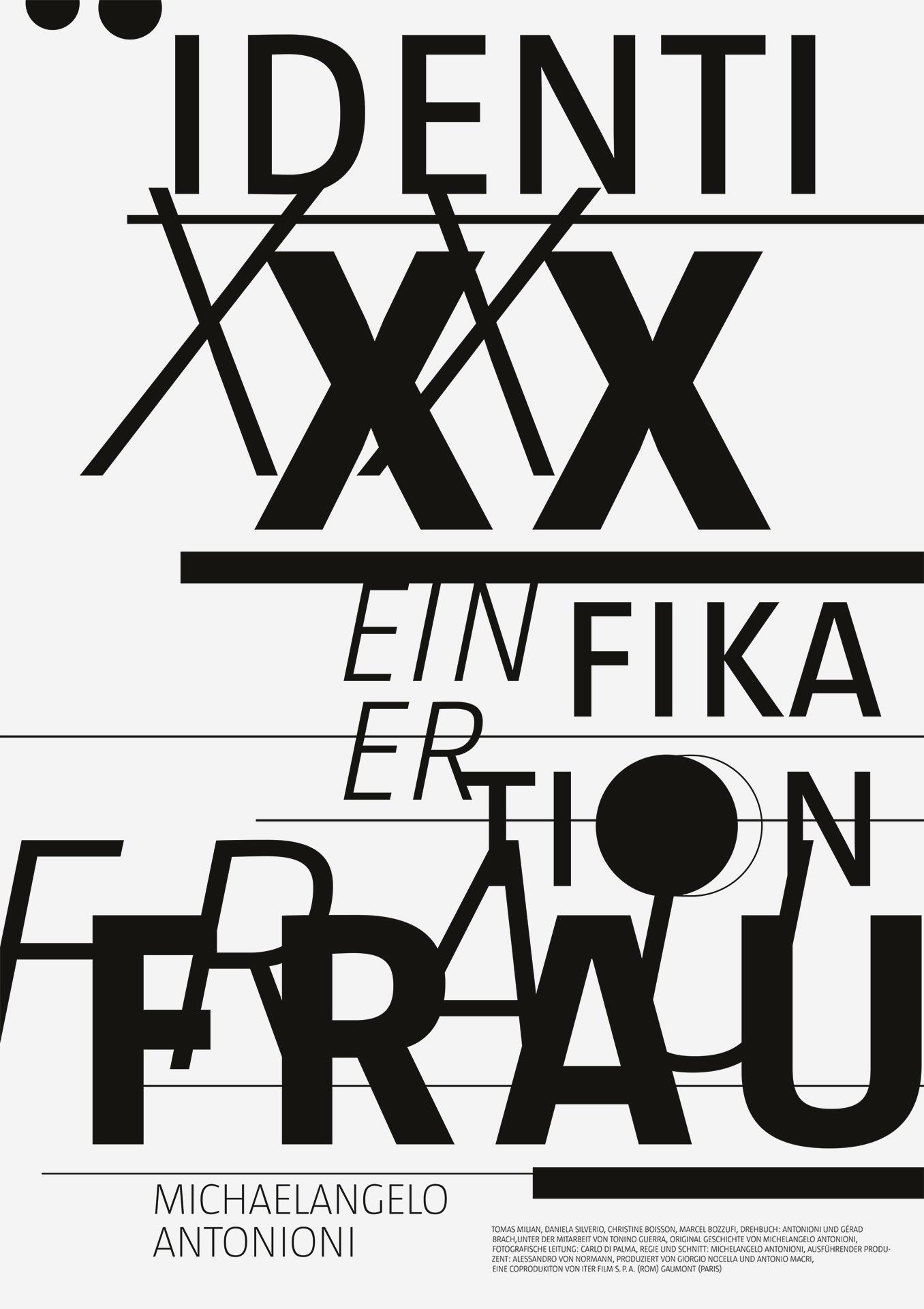 Michaelangelo Antonioni Poster neue Identität einer Frau Plakat Gestaltung schwarz weiß Filmplakat